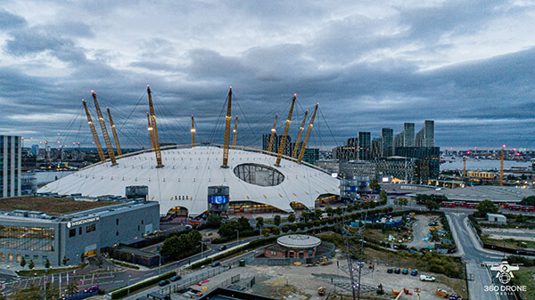 aerial photo of the O2 London